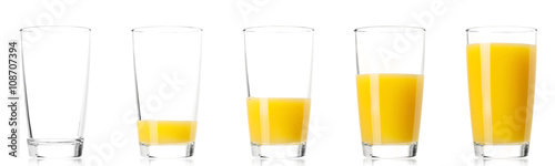 Poster Sap Set - glass of fresh orange juice