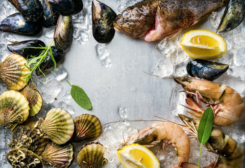 Poster Coquillage Fresh seafood with herbs and lemon on ice. Prawns, fish, mussels, scallops over steel metal background. Top view, copy space