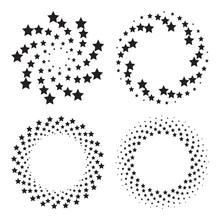 Halftone Circles Of Stars, Twisted Spiral. Design Elements. Vector Illustration