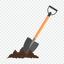 Shovel In The Ground. Gardening Tool On Checked Background.