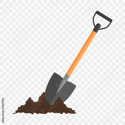 Fotografía  Shovel in the ground. Gardening tool on checked background.