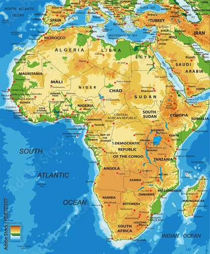 Photo  Africa-physical map
