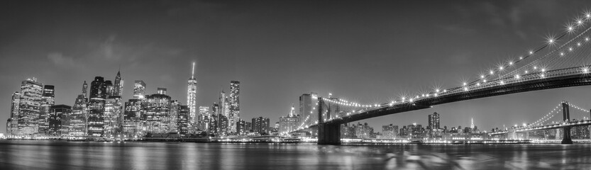 Obraz na Plexi Mosty New York manhattan bridge night view
