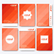 Red set of vector corporate identity template. Modern business stationery mock-up. Background with red triangles