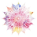Mandala  colorful watercolor. Beautiful round pattern. Detailed abstract pattern. Decorative isolated.  - 108726767