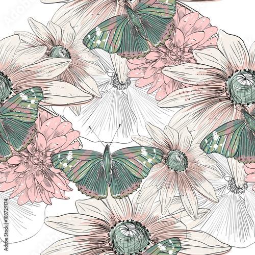 rysunek-reka-motyl-i-kwiaty-na-rozmazany-pedzel