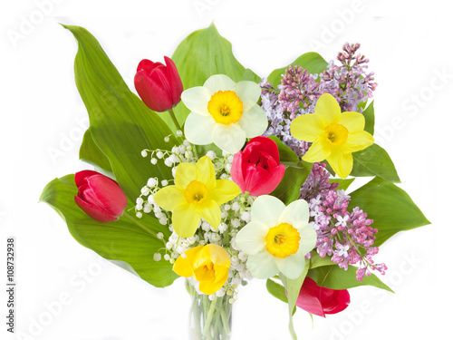 Foto auf AluDibond Maiglöckchen Lilac, tulips and narcissus flowers bunch isolated on white background