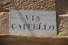 Street Plate Of Via Cappello In Verona, Italy, Where Juliet's House Balcony (Casa Di Giulietta) Is Located