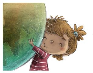 niña con globo terraqueo