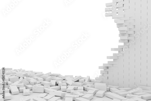 Obraz na plátně Destruction of a white brick wall on white background