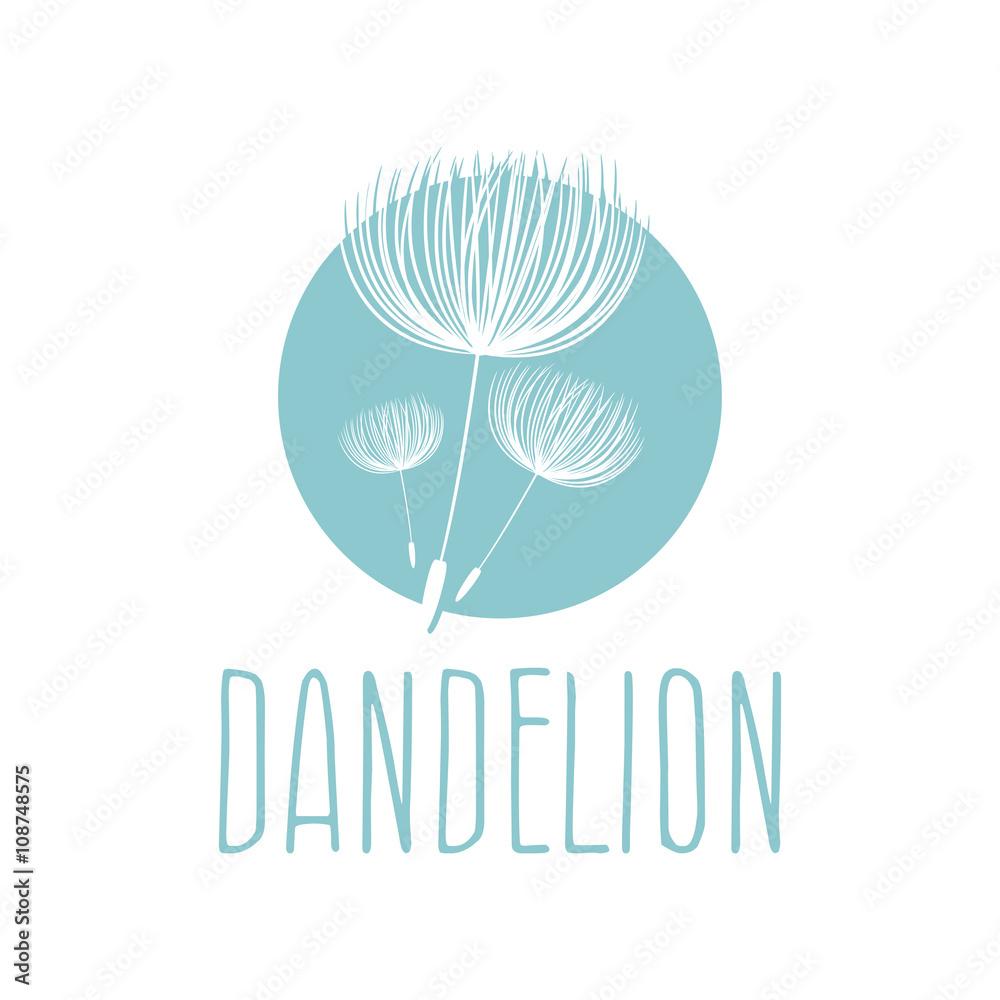Fototapety, obrazy: Abstract fluffy dandelion flower logo. Vector illustration