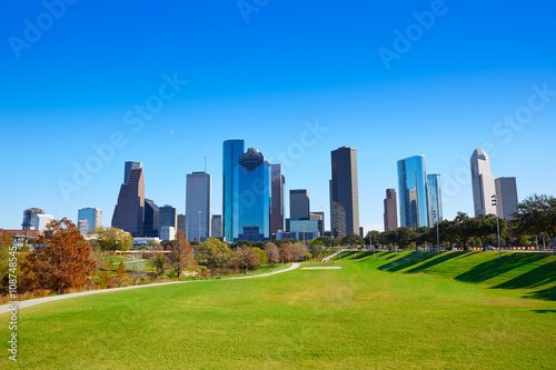 Poster Chicago Houston skyline in sunny day from park grass