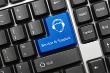 Conceptual Keyboard - Service And Support (blue Key With Call-ce