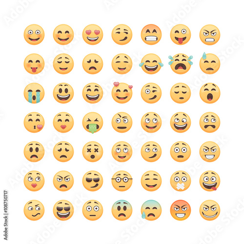 Photo  Set of emoticons, emoji isolated on white background, vector illustration