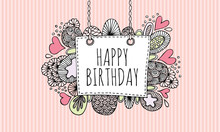 Happy Birthday Doodle Vector Lineart With Pink Stripe Background