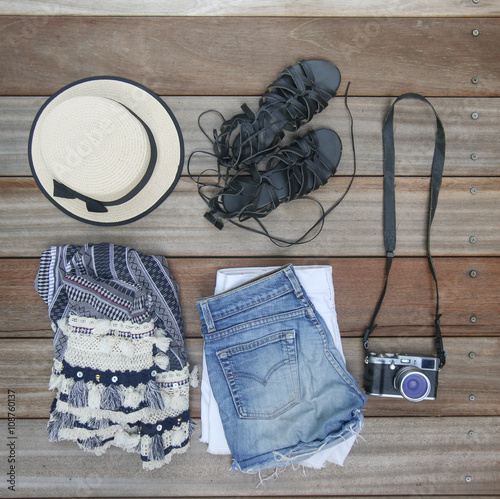 Fotografie, Obraz  Top view of female essentials festival, vacation fashion items