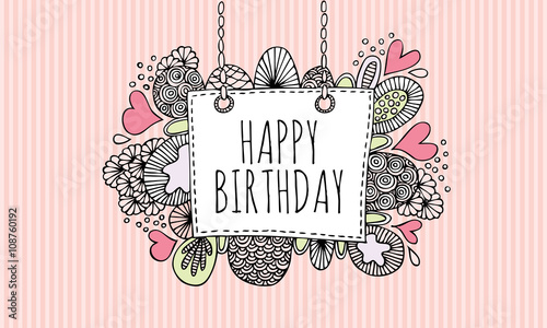 Photo  Happy birthday Doodle Vector Lineart with Pink Stripe Background
