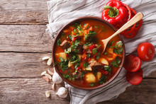 Tasty Hungarian Goulash Soup Bograch And Ingredients. Horizontal Top View