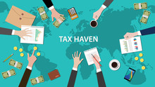 Tax Haven Panama Papers Concept With Money World Map Document