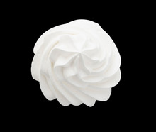 Frozen Yogurt. Whipped Cream Isolated On A Black Background With Clipping Path. Top View.
