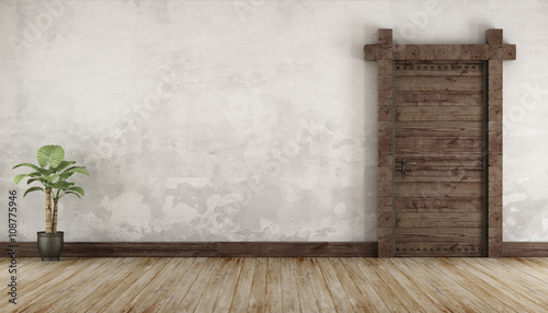 Fotografiet  Living room in rustic style without furniture