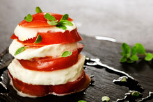 Italian Caprese With Marjoram Over Slate