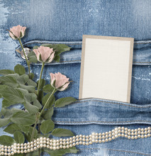 Old Denim Background With Paper Frame, Pearls