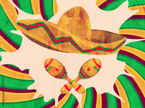 Fotografie, Obraz  Grunge Sombrero and Maracas