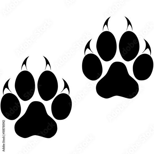 Naklejka premium Ślady dużego kota. Ślady pantery lub tygrysa. Wektor ESP10