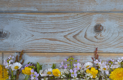 Fotografia  Bunch of fieldflowers,daisies, buttercups, Pentecostal flowers, dandelions  in a
