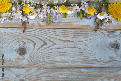 Plakat  Bunch of fieldflowers,daisies, buttercups, Pentecostal flowers, dandelions  in a