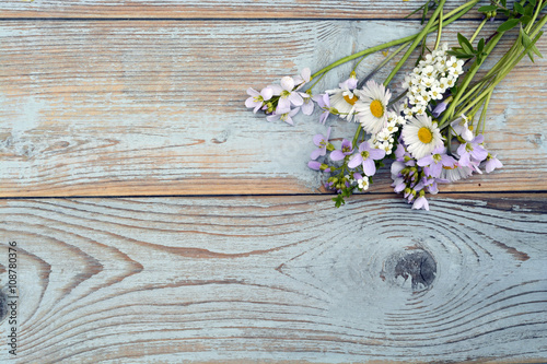 Bunch of fieldflowers,daisies, buttercups, Pentecostal flowers, dandelions on a Canvas