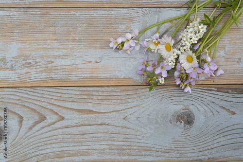 Plakat  Bunch of fieldflowers,daisies, buttercups, Pentecostal flowers, dandelions on a