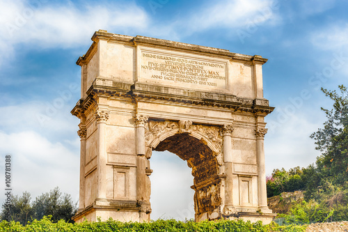 Fotografering The iconic Arch of Titus in the Roman Forum, Rome