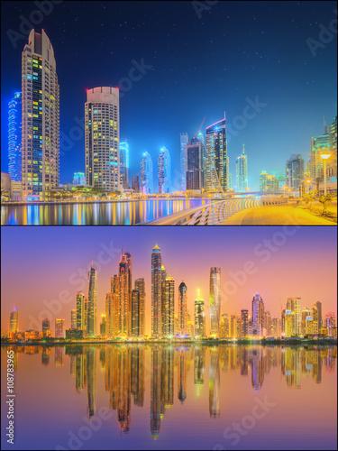 Photo  Beautiful cityscape set and collage of Dubai