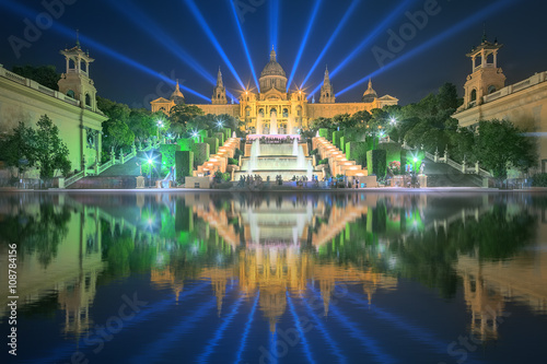 Night view of Magic Fountain in Barcelona Canvas Print