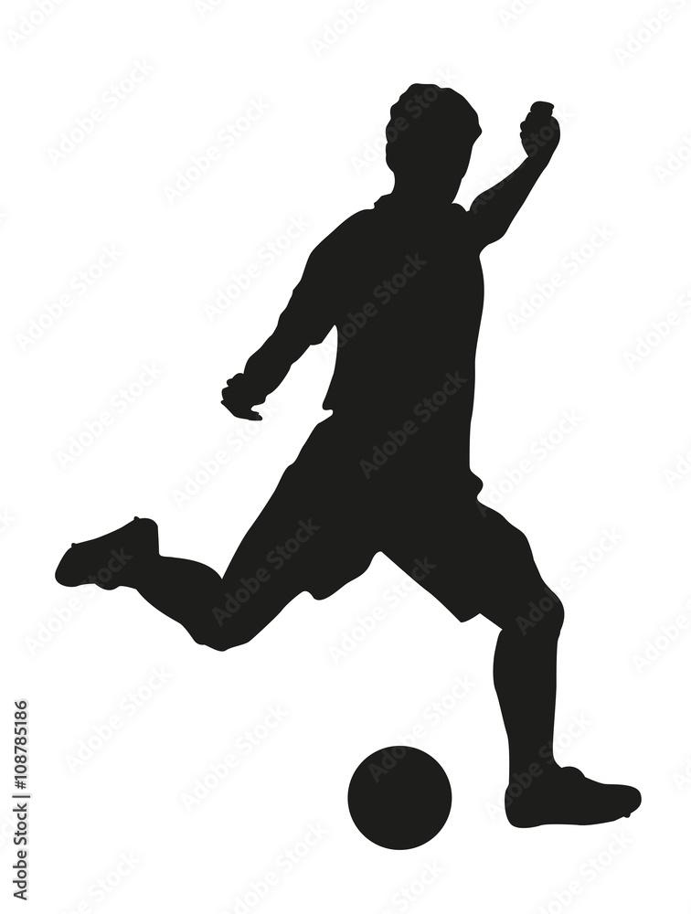 Gamesageddon Stock Fussballspieler Mit Fussball Silhouette