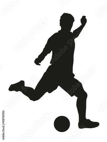 Fussballspieler Mit Fussball Silhouette Fussballer Vektor