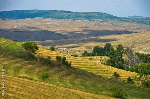 Aluminium Prints Landscapes Panorama of Pester plateau landscape in southwest Serbia