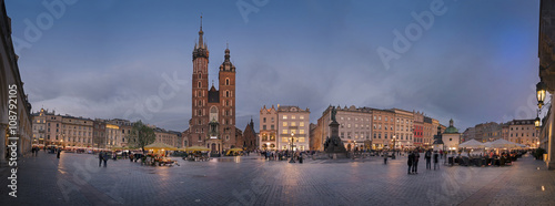 fototapeta na drzwi i meble Panorama view of Krakow Market Square from the Cloth Hall