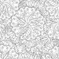 Tracery seamless calming pattern. Mehendi design. Ethnic monochrome binary harmonious doodle texture. Black and white. Indifferent discreet. Curved doodling mehndi motif. Vector.