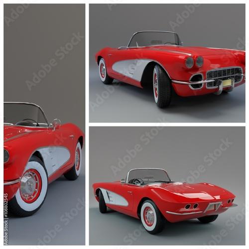 Vintage clasic car collage photo