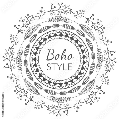 Photo  Vector Boho Style Frame
