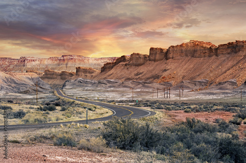 Poster de jardin Parc Naturel scenic road in Capitol Reef National Park at sunset