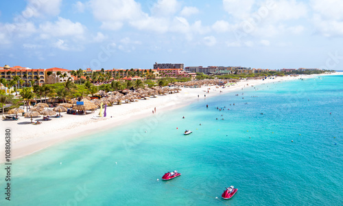 Photo Aerial from Eagle beach on Aruba in the Caribbean