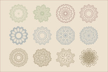 Circular Mandalas Snowflakes Design Set. Vector Graphic Design Assets To Improve Your Artwork With Polished Organic And Geometric Ornaments
