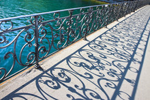 Old Wrought Iron Railing On A Walkway In Lucerne (Switzerland)