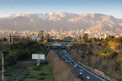 Tehran Skyline and Highway with Alborz Mountain, Iran