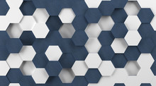 White Plastic And Blue Fabric Hexagon Background