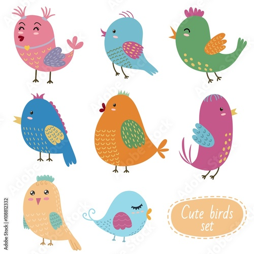 Wall Murals Birds, bees Cute birds set. Vector collection